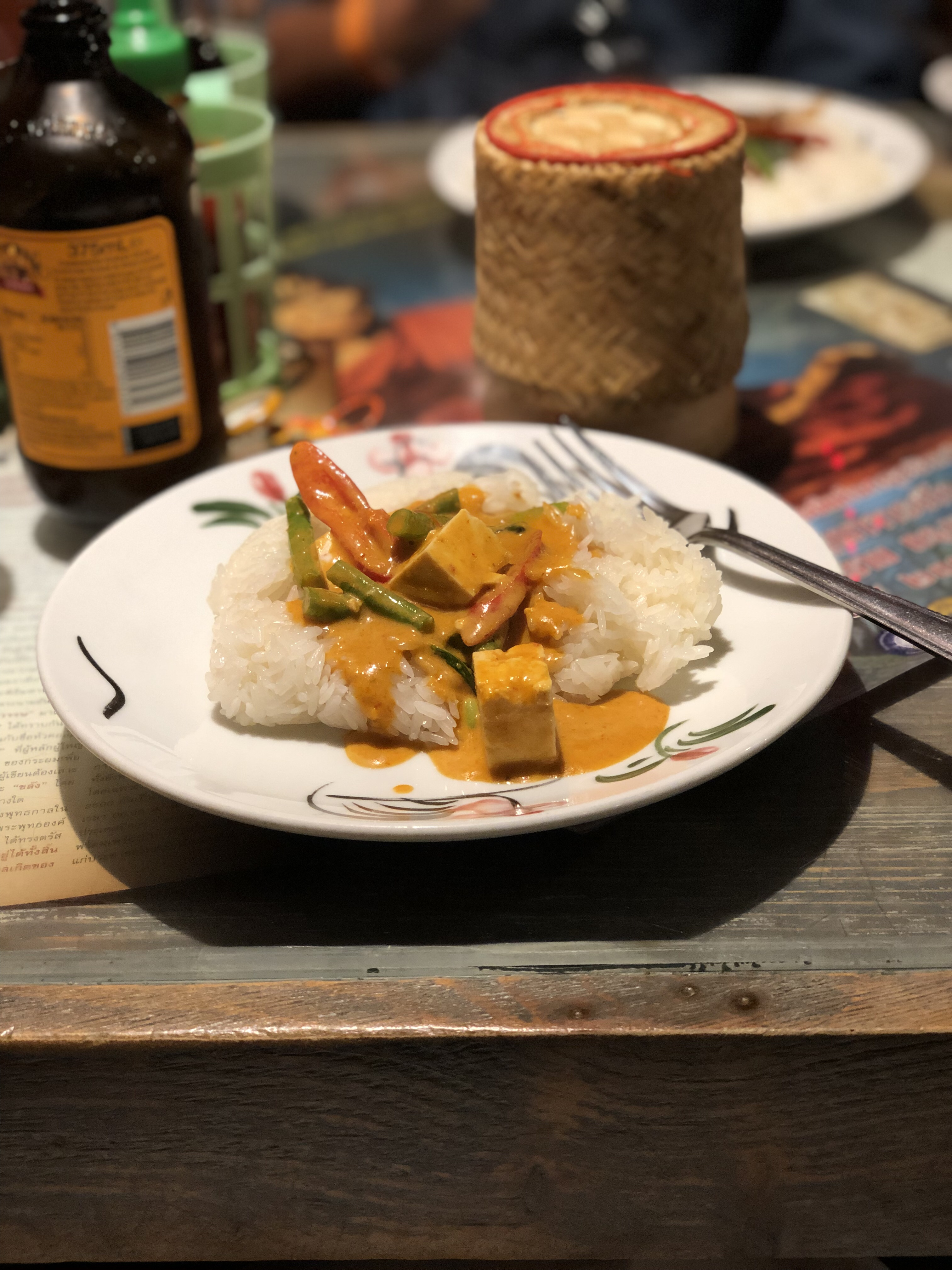 Tofu Panang Curry with sticky rice