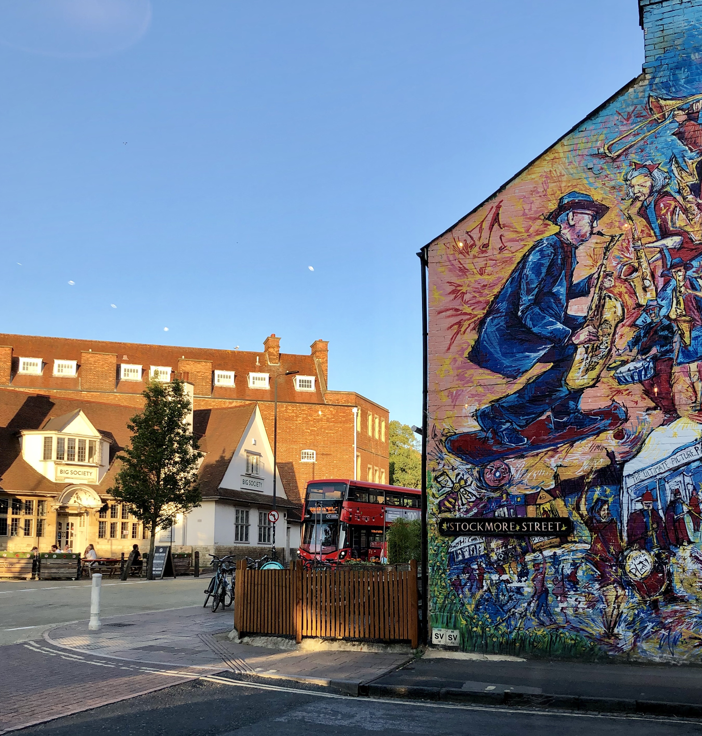 A view of street art from the window of Atomic Burger, Oxford